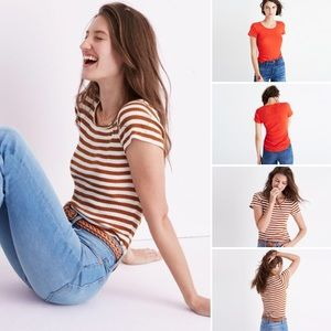 Two Madewell slim ribbed tees Sandoval stripe red